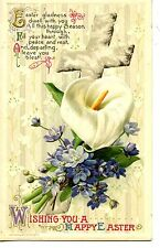 Pretty Flowers-Calla Lily-Easter Cross-Holiday Greeting Vintage Winsch Postcard