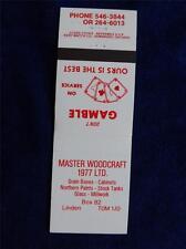 MASTER WOODCRAFT 1977 FARM SUPPLIES GRAIN BOXES STOCK TANKS VINTAGE MATCHBOOK