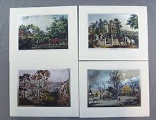 Vintage Currier and Ives Nostalgic America Foil Etch Print Set 243-120 4 Prints