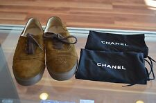 CHANEL Designer Brown Suede Lace Up Sneaker Shoes Size 38 (US 8)