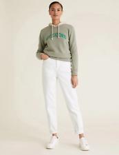 M&S Soft White High Waist Mom Slim Fit Jeans Size 20 Reg BNWT