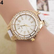 Armbanduhr Damenuhr gold Strass Analog Quarz Damen Mode weiss Faltschließe Uhr