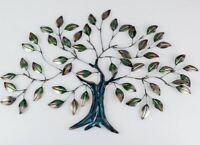670847 Wanddeko 64cm Baum mit Blättern aus farbigem, glänzendem Metall