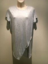 Divided H&M Grey Short Sleeve Round Neck Asym Hem T-Shirt Top Size L Fit 12 14