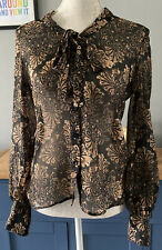 Roman Originals Size 12 Brown Gold Sheer Long Sleeved Shirt Blouse Bow Neck