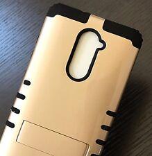For ZTE ZMAX PRO Z981 - Hybrid Armor High Impact Case Cover Gold Black Kickstand