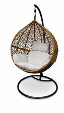 Outdoor Hanging Egg Chair - Natural Brown Basket with Beige Cushions