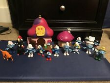 Large Smurf House And Figurine Lot