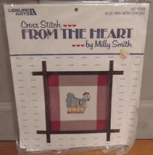 BLUE HEN WITH CHICKS Leisure Arts From the Heart #718 Cross Stitch Kit 1984 New