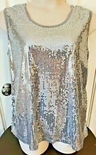 NEW - Slinky Brand - silver sequin sleeveless pullover stretch blouse - Size 1X