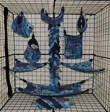 Blue Purple Line Tie Dye*15 PC Sugar Glider Cage set * Rat * double layer Fleece