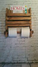 MURO in legno rustico doppio Portarotolo E LIBRO PORTARIVISTE-HAND MADE