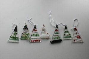 Handmade Fused Glass Christmas Trees - set of three