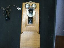 Sharp Antique  Crank Wall Mount Telephone Quartersawn Tiger Oak Wood