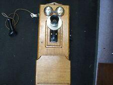 Sharp Antique  Crank Wall Mount Telephone Quartersawn Tiger Oak Wood
