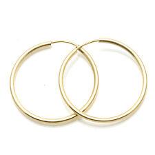 Vintage 14k yellow gold thin hoop earrings large 2mm Earrings