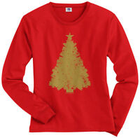 Threadrock Women's Gold Christmas Tree Long Sleeve T-Shirt Holiday Decoration