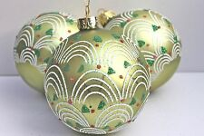 Gisela Graham NATALE opaco verde con anelli POIS VETRO gingillo x 3
