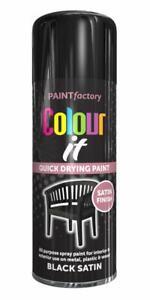 3x Black Satin Paint Aerosol Spray Can Quick Drying DIY Plastic Metal 400ml New