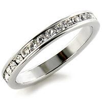 Bague luxe argent rhodié femme mode chic serti zirconium diamant mariage anneau