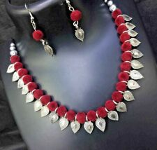 Silver Oxidised Tone Statement Necklace Set Indian Ethnic Tribal Jewelry Red