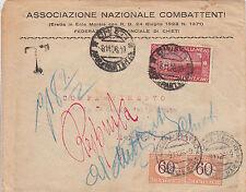 RESPINTA AL MITTENTE e TASSATA-60c S.FRANCESCO-Busta Chieti->Ancona 8.11.1926