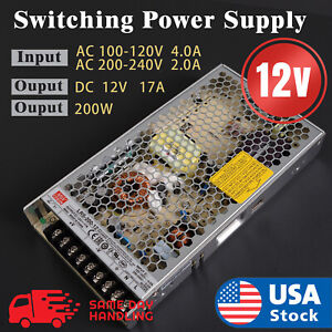 Mean Well LRS-200-12 Switching Power Supply 12V 17A 200W  LED Strip Light