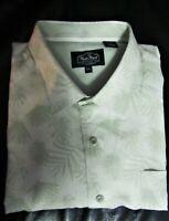 NAT NAST 2XL Palm Leaf Print Silk Blend Shirt NWOT Soft Green/Off White GR8 Gift