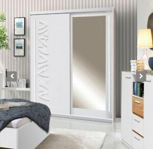 2 Door Mirrored Sliding Wardrobe 150CM.WHITE/MIRROR. TK1-150.TOKYO. BRAND NEW