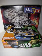 2 Puzz3D Star Wars 3D Puzzles Anakin's Jedi Starfighter and Millennium Falcon