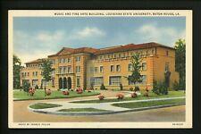 Louisiana LA postcard Baton Rouge, State University Music Fine Arts linen Teich