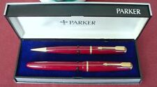 "PARKER "" VICTORY "" FOUNTAIN PEN AND PENCIL, in RED; ENGLAND, EXTREM RARE in BOX"
