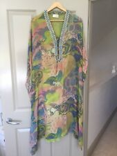 Camilla V Neck Lace Up Dress Kaftan Swarovski Crystals, Silk, Rare