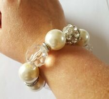 COSTUME JEWELLERY Ladies Stretchy Glass Cream Silver Clear Round Beaded Bracelet
