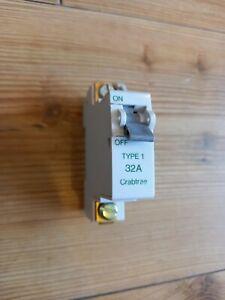 Crabtree SB6000 32A Type 1 Breaker Single Pole SP 32 Amp MCB 610/32 61151 NEW