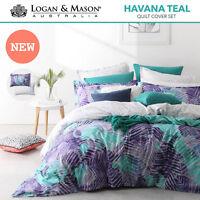 Logan & Mason Havana Teal Tropical KING Size Bed Doona Duvet Quilt Cover Set