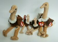 Ty Beanie Baby Stretch The Ostrich Family Stuffed Bird Plush mom dad and babys