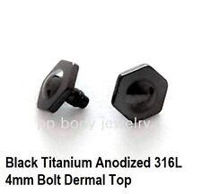 1pc. 4mm~14G Black Titanium Anodized 316L Steel Frankenstein Bolt Dermal Top