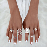 8pcs/Set Womens Silver Boho Vintage Knuckle Boho Tribal Ethnic Hippie Rings Gift