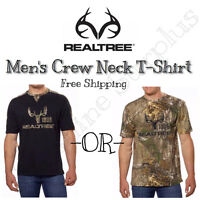 NEW REALTREE BUCKHORN Men's Short Sleeve Camo or Black Hunting T-Shirt! VARIETY!