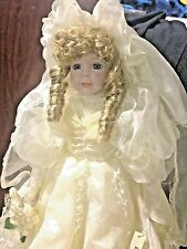 "Dynasty Vintage Blonde Bride 19"" Porcelain Doll Old Fashioned Lace Wedding Dress"