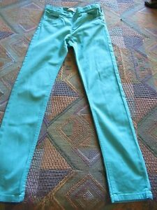 Girls Green Jeans [Side Zip] Age 8-9 Years GC