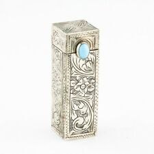 Engraved Italian 800 Silver Lipstick Case Vintage Holder w/ Mirror and Turquoise
