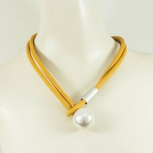 Lagenlook Short Loop Yellow Necklace with large faux Pearl from Timeless Season