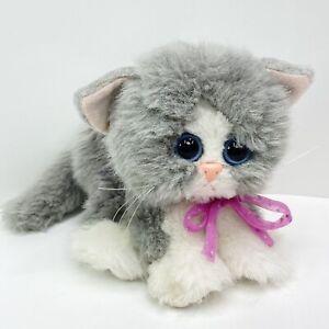 Vintage 1992 Tyco Kitty Kitty Kittens Purring Gray & White W/ Pink Bow Cat Plush