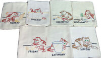 7 Vintage Hand Embroidered Flour Sack Kittens Cats Days of The Week Dish Towels
