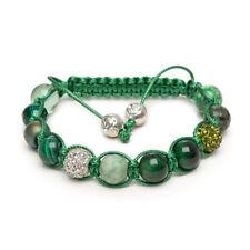 Shamballa Gemstone Bracelet Jade Green Tigers Eye Malachite Silver Pave Crystal