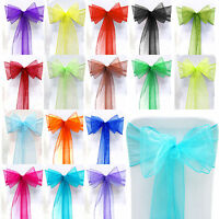 1-100 Organza Sashes Chair Cover Bow Sash WIDER FULLER BOWS Wedding Party Decor