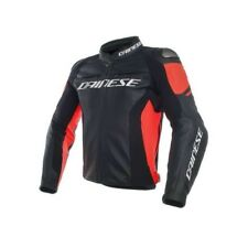 Giacca in Pelle Dainese Racing 3 Leather Jacket Black/black/fluo-red - Tg 50