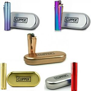 NEW METAL CLIPPER LIGHTERS WITH GIFT CASE TIN GENUINE OFFICIAL